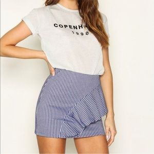 Topshop Gingham Ruffle Miniskirt